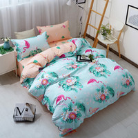 cover girls venda por atacado-Pássaro Impresso #Wewish rosa azul edredon cobrir Set animal cama Set completo rainha rei Cute Girls Bed Tampa Colcha