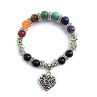 Wholesale jade pendant purple - 7 Chakra Rainbow Bracelet Love Heart Pendant Boho Female Antique Silver Plated Jewelry Purple Crystal Jade Red Agate Bracelet D893S