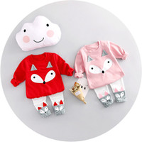 Wholesale open pants - Girls Fox Shirt Pants Suit Opened Crotch Fox Cartoon Long Sleeve Kids Clothing Sets Spring Autumn 3-24M