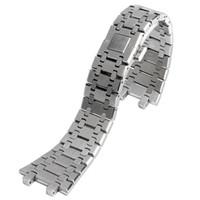 kelebek askısı saat bandı toptan satış-Yüksek Kalite Gümüş Topraklar Paslanmaz Çelik Kelebek Toka ile Saatler için 28mm Genişlik Watchband Saatler Kayış Bilezik