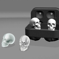 Wholesale Whiskey Tray - 3D Silicone Skull Ice Cube Shape Whiskey Cocktail Ice Ball Ice Cream Mold Maker Tray Halloween Eerie Bar DIY Tool