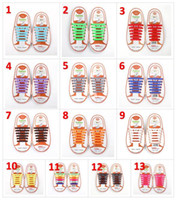 Wholesale slip sneakers wholesaler - Unisex Easy No Tie Shoelaces Kids Silicone Elastic Shoe Laces Kids Running Shoelaces Fit All Sneakers set