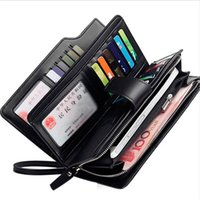 Wholesale multi coins slot for sale - Card holder Leather Wallet men Long Design Quality passport cover Fashion Casual Mens Purse Zipper Multi function coin purse