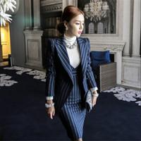 Wholesale women dresses blazers - Wholesale-Women Blazer Suits Elegante With Skirt Cotton Striped Women Autumn Spring Blazer+Dress 2 Pieces Set For Women Clothes M91423