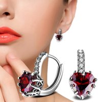 Wholesale heart shaped crystal box - Heart-Shaped Red Zircon Hoop Earrings for Women Zircon Crystal Hoop Fashion Brand Earrings With Gift Boxes E515