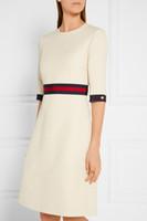 Wholesale drop waist dress l - High quality dress women's wear 2018 European and American sleeves, round neck waist dress, European standard code S to XL