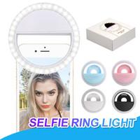 iphone flash ring großhandel-RK12 Wiederaufladbare Universal LED Selfie Licht Ring Licht Blitzlampe Selfie Ring Beleuchtung Kamera Fotografie Für iPhone X Samsung S10 Plus