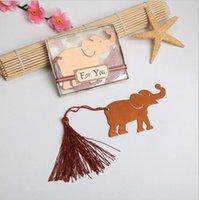 bebek metal yer imi toptan satış-100 adet püskül ile şanslı fil bookmark düğün hediyeleri hediye kutusunda, bebek duşlar hediyelik eşya