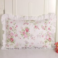 Wholesale ruffle pillow case - New Princess Pillowcase Handmade Ruffle Wrinkle Pillow Cases Textile Home Bedding Decorative Pillowcase Pastoral Pillow Cover
