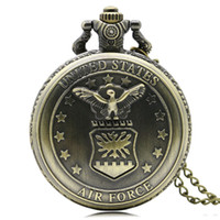Wholesale Cool Pocket Watches - Cool Carving United States Air Force Eagle with Stars Pattern Pocket Watches for Men Women Pendant Slim Chain Clock