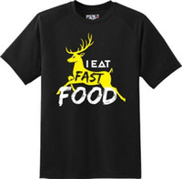 faculdade rápida venda por atacado-Engraçado eu como fast food humor preguiçoso gordo festa faculdade camiseta nova graphic tee