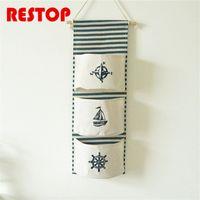 Wholesale sail clothing online - ZAKKA Style Sailing Anchor Home Organizer Storage Bags Linen Pastoral Wall Decorating Hanging Pocket Bag Organizador RES331