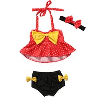 gelbe baby-fliege großhandel-Red Dotted Printed Big Bow hängende Neck Tops + Schwarz Gelb Bow Tie Badeanzüge Beachwear für Baby Girs mit Floral bedruckten Stirnband