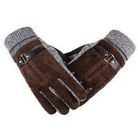 guantes para hombre al por mayor-Diseñador para hombre Guantes térmicos Verano Invierno Cinco dedos Guantes Protegidos con los dedos Mantener el vellón Guantes gruesos transpirables