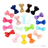 Wholesale infant baby accessories online - Baby Infant Bow Hairpins Small Grosgrain Ribbon Bows Hairgrips Girls Solid Whole Wrapped Safety Hair Clips Kids Hair Accessories KFJ27