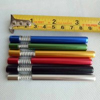 Wholesale Aluminium Pipes - 82mm length Metal smoking pipe Filter Tips aluminium one hitter with spring aluminium spring bats can clean itself 6 colors