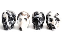 Wholesale Carved Crystal Skulls - 1.8-2.0 INCHES Natural Tumbled White and Black Zebra Jasper Carved Crystal Reiki Healing Skull Statue with a Velvet Pouch
