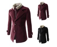 Wholesale Stylish Men Trench Coats - Winter warm Mens Trench Coats Coat Stylish style Single Breasted Mens Coat Wool Trench Coat M-2XL