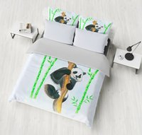 ingrosso re di piuma del panda-3D Panda Set di biancheria da letto Copripiumino Copripiumino Federe matrimoniali Twin Full Queen King Single Double 3pcs Biancheria da letto Biancheria da letto animale