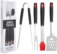 ingrosso set di spazzolini-Multifunzionale Camping BBQ Grill Set di strumenti Pennello per spazzola Spatola Apri Pinza Forcella 4 Pz Utensili per uso professionale NNA358