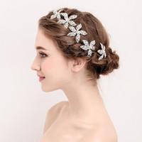 Wholesale wholesale wedding hair pieces - Fashion Rhinestone Flower Headpiece Bridal Silver Color Hair Pins Accessories Handmade Women Hair Piece Wedding Hairpins Jewelry
