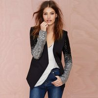 Wholesale Blazer Coats For Women - HDY Haoduoyi slim women Pu patchwork Black silver sequins Jackets Full sleeve Fashion spring winter coat for wholesale