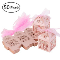 Wholesale bird bedding sets - 50pcs Hollow Bird Style Wedding Favor Candy Boxes Gift Boxes with Ribbons
