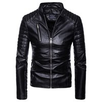 Wholesale pu leather motorcycle jackets outwear for sale - Group buy New Arrival Mens PU Leather Jacket Short Slim Leisure Male Outwear Coat High Quality Casual Motorcycle Jacket Europe Size S XL