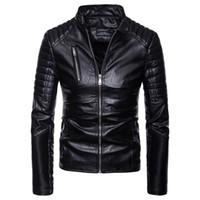 vestes pu europe achat en gros de-Nouvelle Arrivée Hommes PU En Cuir Veste Court Mince Loisirs Mâle Outwear Manteau Haute Qualité Casual Moto Veste Europe Taille S-2XL