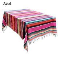 cobertores de mesa branca casamentos venda por atacado-Atytai 150X215 cm Mexicano Cobertor Listra Toalhas de Mesa para Casamentos de Algodão Cobertor De Viagem Serape Cobertor De Mesa Ao Ar Livre Toalha De Mesa