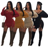 vestido de milho venda por atacado-Vestido de atadura de milho Espartilho Mulheres Sexy Bandage Lace Up Oco Out Long Sleeve Night Club Vestido 4 Cores LJJO4311