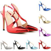 knöchelriemen keucht lila großhandel-Marken-Designer-Womens Stilettos High Heels Crocodile Grain Stilettos Spitz Knöchelriemen Wedges Plattform Sexy Schuhe US-Größe 4-11 D0093
