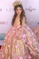 Wholesale Bling White Girl Dresses - 2017 Jewel Ball Gown Girl Pageant Dresses Bling Princess Long Sleeves Floor Length Sweep Train Flower Girl Gowns With Hand Made Flowers