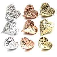 Wholesale newest wing jewelry resale online - 20pcs Newest Snap Jewelry Angel Wings Love Heart Metal mm Snap Button Charm noosa chunk Fit DIY Bracelet Necklace ring