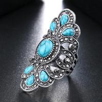 mavi turkuaz vintage toptan satış-Takı Avrupa Vintage Doğal Mavi Turkuaz Eski alaşım Gümüş Kaplama Hollow unisex Elmas Narin Simetri büyük Yüzük