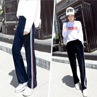 Wholesale yoga pants stripe for sale - Group buy Women s Casual Pleuche Loose Wide Leg Pants Winter Smooth Comfortable Athletic Yoga Running Leisure Pants Fashion Female Designer Clothes