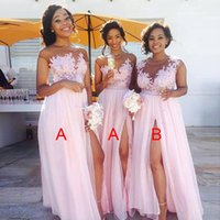 Wholesale Perfect Pink Dress - Perfect Pink 2018 Bridesmaid Dresses Long Side Split A Line Chiffon Floor length Maid of the Honor Dresses Plus Size Custom Made SB013
