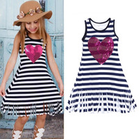 Wholesale Sequin Striped Dress - Baby girls tassel stripe dress Children Heart-shaped Sequins princess dresses 2018 new Boutique Kids Clothing C3588