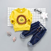 Wholesale 12 Month Boy Jeans - 2018 spring children clothes set two piece tops+jeans suit for boys infant casual tracksuit toddler kids sport suit baby clothes