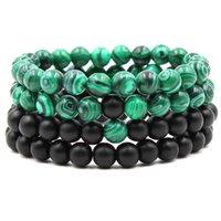 Wholesale Al Plastic - Hot 8mm black matte malachite couple bracelet femme bracelets for women Synthetic Stone Length 19.5cm Bracelet AL-XD20