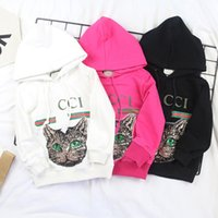 Wholesale Child Sweaters - 2018 high quality spring new sequins cat sweater cotton hooded children's hoodies tide brand children's clothing parent-child wear