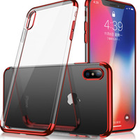 Wholesale thin apple online – custom For Samsung S8 S9 Plus S7 Edge Metal Electroplating Case Soft TPU Transparent Cover Ultra Thin Clear Case For iPhone X