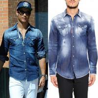 ince sığan kovboy gömlekleri toptan satış-Erkek Bleach Solmaya Denim Gömlek Serin Adam Slim Fit Longsleeves Yıkanmış Vintage Düz Renk Kovboy Gömlek Adam