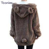 Wholesale cute winter coats sale - Hot Sale Women Hoodies Zipper Girl Winter Loose Fluffy Bear Ear Hoodie Hooded Jacket Warm Outerwear Coat Cute Sweatshirt Hoody