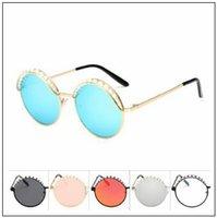 Wholesale Pearl Frame Round - Round Metal Sunglasses Pearl Decoration Eyebrow Eyewear Unisex Fashion Glasses Retro Vintage Sunglasses Outdoor Eyewear CCA9315 10pcs