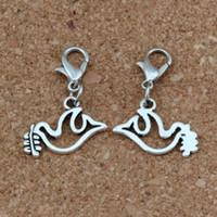 Wholesale olive charm bracelet resale online - 100Pcs Antique Silver Peace Dove Olives Charms Bead with Lobster clasp Fit Charm Bracelet DIY Jewelry x26mm A b