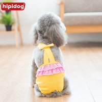 Wholesale cotton dog diapers - Hipidog Pet Doggies Cats Physiological Solid Pants Cotton Pet Dog Panties Strap Sanitary Dog Underwear Diapers Puppy Shorts