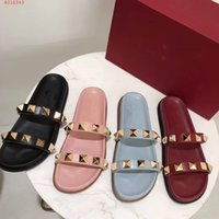 Wholesale Soft Soled Indoor Shoes - Women ladys girl's summer slippers studded rivets red-soled shoes loafers flats Moccasins luxury brand sandals Slippers sneakers scuffs