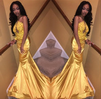 Wholesale Golden Beaded Mermaid Prom Dress - 2018 Mermaid Golden Prom Dresses Appliques Beaded One Shoulder Long Sleeves African Black Girls Dresses Evening Wear Vestidos