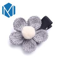 örme kumaş çiçek toptan satış-M MISM 2017 Retro Örgü Kız Tokalar Kumaş Çiçek Sevimli Çocuk Aksesuarları Kore Tarzı Sıcak Toka Tatlı Saç Klip Şapkalar